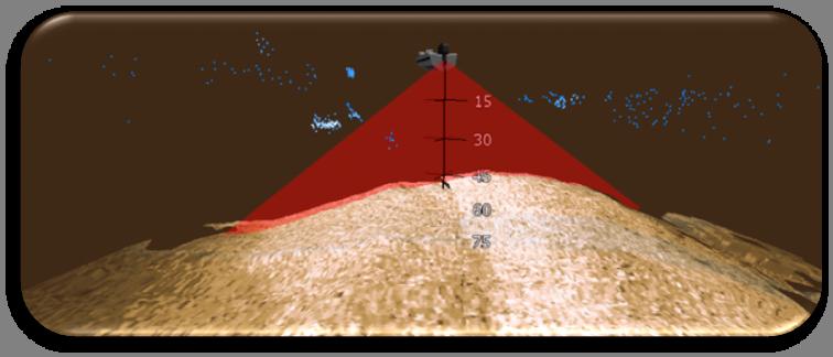 StructureScan 3D - Лодка прямо над вершиной бугра