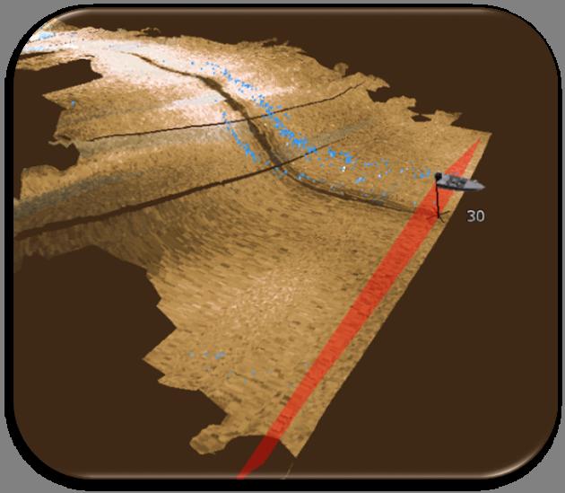 StructureScan 3D - Это переход от мелководья до 30' глубины, рыба отображается голубым и наибольшее ее скопление замечено вокруг обрыва.