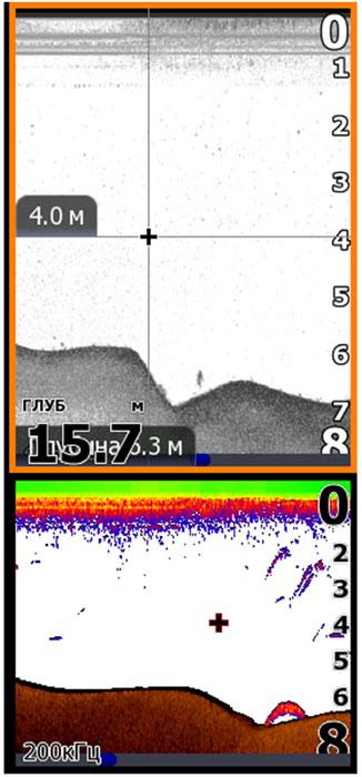 Скриншот экрана эхолота одного и того же места новой 800кГц и старой 200кГц