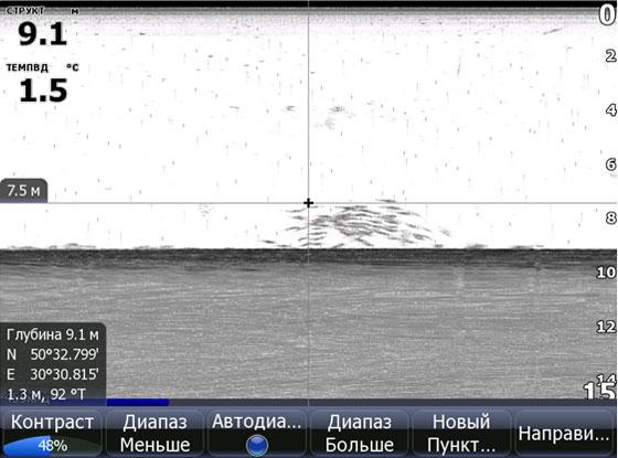 Прохождение по косяку рыбы на нормальной скорости 5-7 км/ч