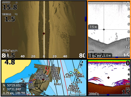 Вверху - боковые лучи. Справа сверху - даунсканер на частоте 455 кГц. Справа снизу - 2Д эхолот с Бродбенсаундером.слева внизу - GPS карта